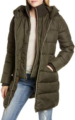 Kensie Water Resistant Puffer Coat with Vest Inset