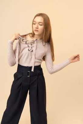 Genuine People Lace Up Sweater