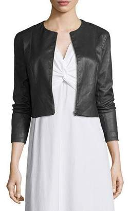 THE ROW Stanta Leather Cropped Zip Jacket, Navy $2,750 thestylecure.com