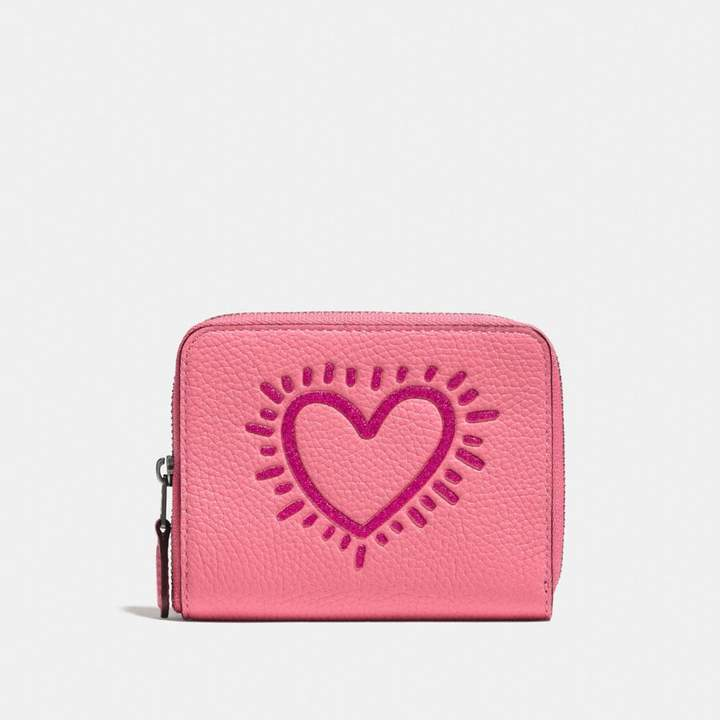 Coach X Keith Haring Small Zip Around Wallet - BRIGHT PINK/BLACK COPPER - STYLE