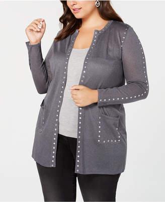 Belldini Black Label Plus Size Sheer Studded Long Cardigan