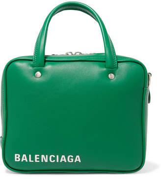 Balenciaga Triangle Square Small Printed Leather Tote - Green
