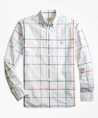 Brooks Brothers Windowpane Cotton Poplin Sport Shirt