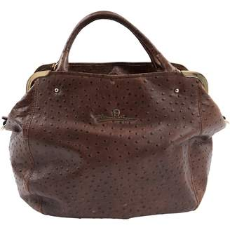 Aigner Brown Ostrich Handbag
