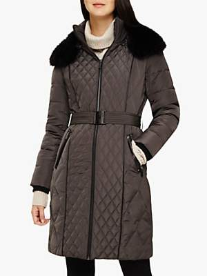Phase Eight Davina Long Diamond Puffer Coat, Slate
