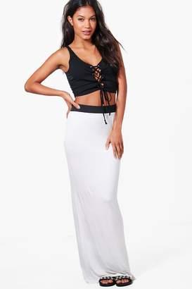 boohoo Basic Contrast Waist Jersey Maxi Skirt