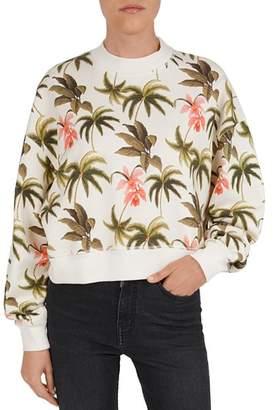 The Kooples Tropical-Print Cotton Fleece Sweatshirt