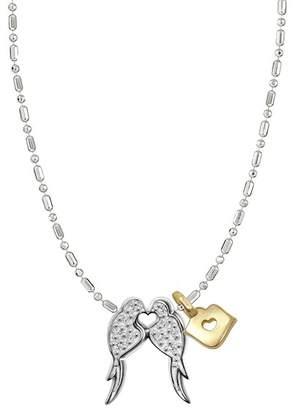 Alex Woo 14K White Gold Little Animals Diamond Lovebirds Charm Necklace - 0.04 ctw