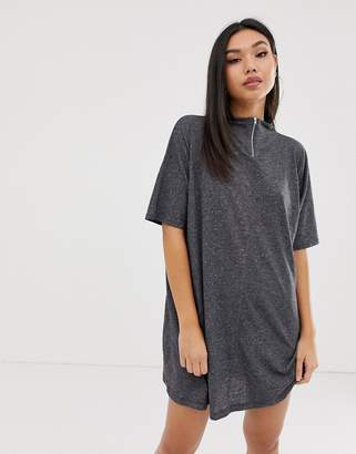 4f736aae1 Asos Design DESIGN mini marl shift dress with metal zip