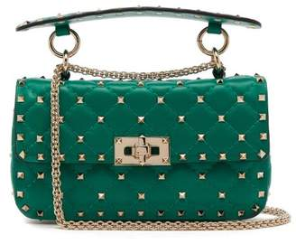 Valentino Rockstud Spike Small Quilted Leather Shoulder Bag - Womens - Green