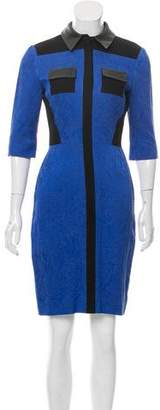 Prabal Gurung Leather-Accented A-Line Dress