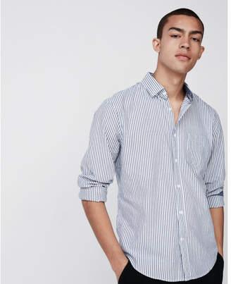 Express slim soft wash button collar striped shirt