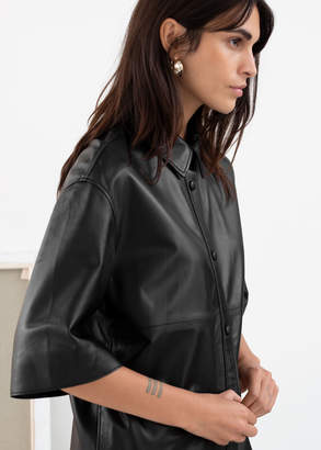 And other stories Leather Button Up Overshirt