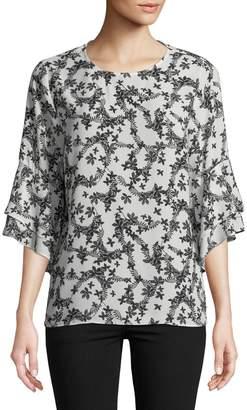 Karl Lagerfeld Paris Floral Bell-Sleeve Top