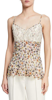 Chloé V-Neck Lace-Bodice Cami-Strap Floral-Print Viscose Top