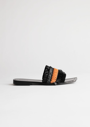 And other stories Straw Ruffle Square Toe Sandals
