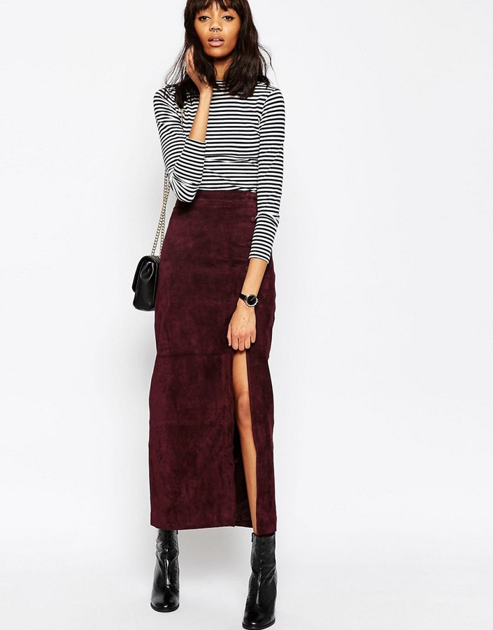 Asos ASOS Maxi Skirt with Thigh Split in Suede