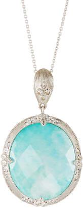 Jude Frances Moroccan Oval Pendant Necklace, Amazonite/Moonstone