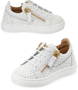 Giuseppe Zanotti Snake-Embossed Leather Low-Top Sneakers, Toddler