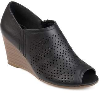 PeepToe Brinley Co. Women's Faux Leather Peep-toe Laser Cut Wedges