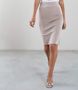 Reiss Our last order date for Christmas has now passed TATE KNITTED PENCIL SKIRT Neutral
