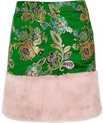 River Island Girls green jacquard faux fur trim mini skirt