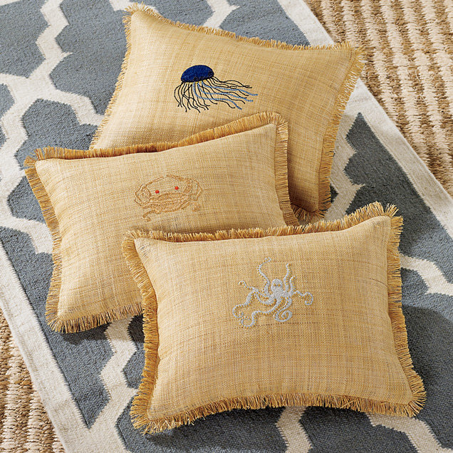 Raffia Embroidered Pillow Cover