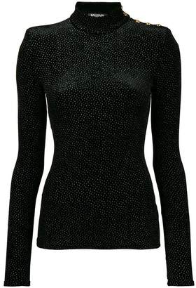 Balmain rhinestone button blouse