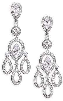 Adriana Orsini Women's Pavé Pear Chandelier Earrings/Silvertone