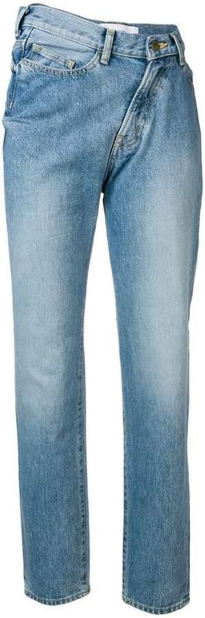 asymmetric waist jeans