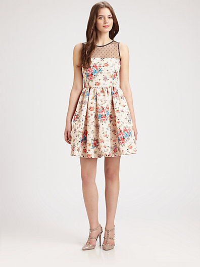 RED Valentino Floral Print and Point D'Esprit Dress