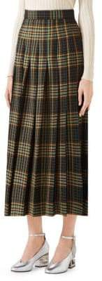 Gucci Women's Wool Tartan Midi Skirt - Navy Green Tartan - Size 42 (6)