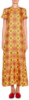 Double J Short-Sleeve Printed Maxi Swing Dress