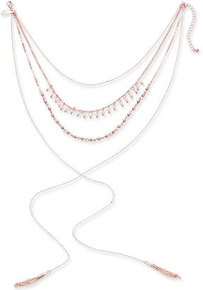 """INC International Concepts I.n.c. Rose Gold-Tone Imitation Pearl, Bead and Tassel Lariat Choker Necklace, 12"""" + 3"""" extender, Created for Macy's"""