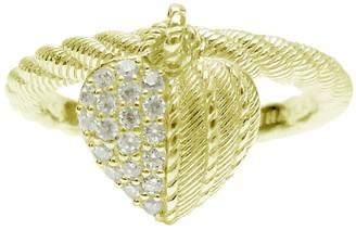Judith Ripka 14K Clad Diamonique Heart Charm Ring