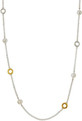 Gurhan Spell Long Two-Tone Hoop Pearl Station Necklace