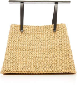 Inès Bressand Leather-Trimmed Straw Top Handle Bag