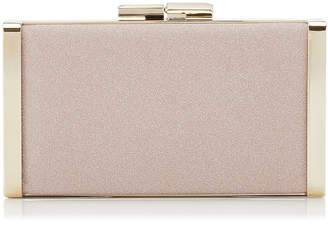 Jimmy Choo J BOX Ballet Pink Fine Glitter Fabric Clutch Bag