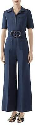 Gucci Women's Short Sleeve GG Belt Cady Crepe Jumpsuit
