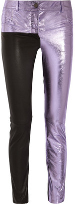 Haider Ackermann - Metallic And Matte Leather Skinny Pants - Lilac $3,245 thestylecure.com