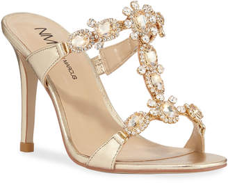 Neiman Marcus Jeweled Metallic High-Heel Sandals