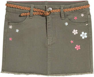 H&M Twill Skirt with Embroidery - Green