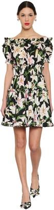 Dolce & Gabbana PRINTED OFF SHOULDER COTTON POPLIN DRESS