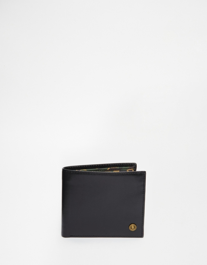 Fred Perry Leather Billfold Coin Wallet With Camo Print