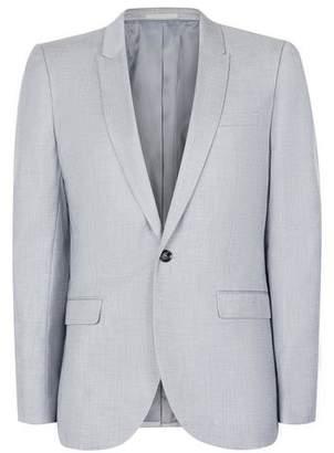 Topman Mens Light Blue Crosshatch Skinny Fit Suit Jacket
