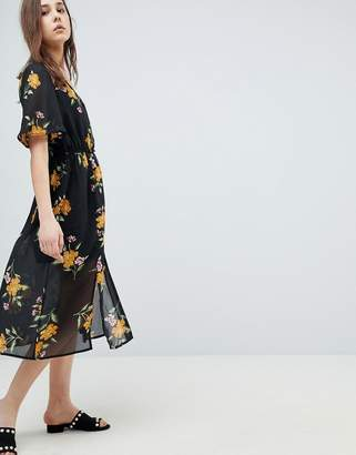 Influence Button Front Kimono Sleeve Midi Dress In Floral Print