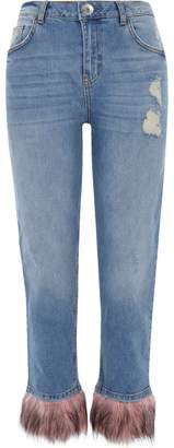 River Island Womens Blue faux fur hem distressed boyfriend jeans