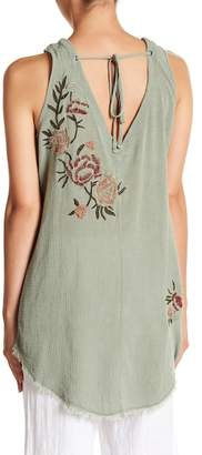 XCVI Wilma Embroidered Frayed Tank Top