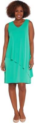 Susan Graver Liquid Knit Tiered Asymmetrical Hem Dress