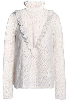 See by Chloe Ruffle-trimmed Pointelle-knit Turtleneck Sweater 18c9e3eb0
